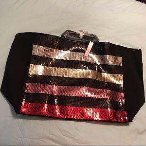 Victoria Secret Striped Sequin Tote